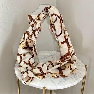 Vintage silk scarf Ralph Lauren stole Light Beige